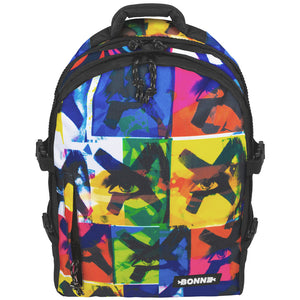 front view of Bonne unique heavy duty school bag, laptop backpack, unique backpack for girls and boys in unisex design X-Eyes