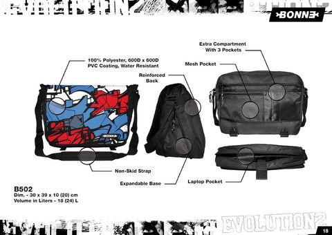 "The new & unique design inspired by urban emotions (Skate, Surf, Hip Hop, Graffiti, School) make this ""The"" Messenger Bag to be seen with. A trendsetter, for males and females. Bonne Australia."