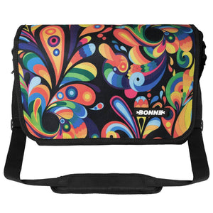 front view of padded women's laptop messenger bag in Exuberance design like Herschel and Roxy for Dell Insprion, HP Pavilion, Asus Aspire, Surface Pro