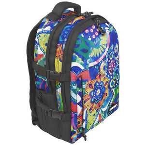 BONNE laptop backpack bag in Crystal design with a side elevated view showing front pocket, top grab handle, top headphoen slot, side pocket, front pocket and side compression straps