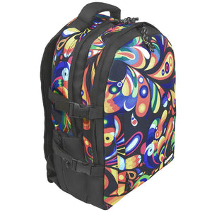 BONNE laptop backpack bag in Exuberance design with a side elevated view showing front pocket, top grab handle, top headphoen slot, side pocket, front pocket and side compression straps