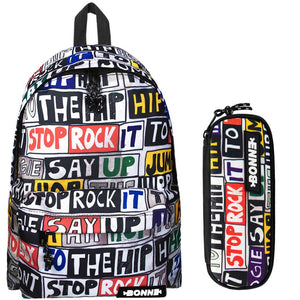 Backpack with matching pencil case with Hip Hop design