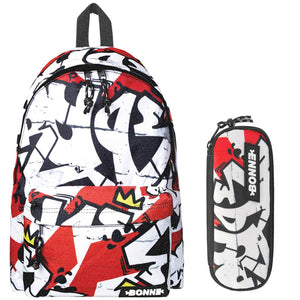 Backpack with matching pencil case in Ruge design