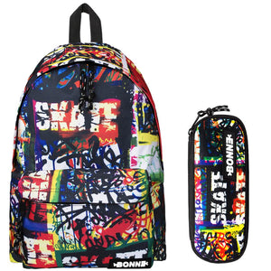 Backpack with matching pencil case with skating graphics