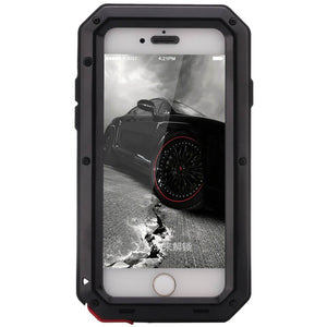 Front view of tough heavy duty military style protective phone case - called Tank - with Aluminum frame and Gorilla Glass in Black for iPhone6 and iPhone 6s
