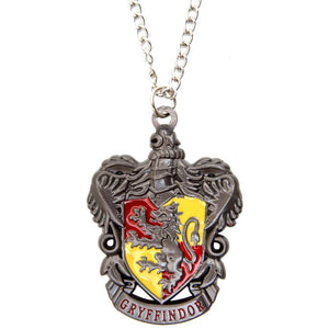 Harry Potter Jewellery Gryffindor House Crest Pendant Necklace with Medallion and Chain - Hematite