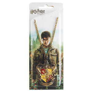 Harry Potter Jewellery Gryffindor House Crest Pendant Necklace with Medallion and Chain in box - Bronze-Gold