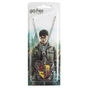 Harry Potter Jewellery Gryffindor House Crest Pendant Necklace with Medallion and Chain in box - Hematite