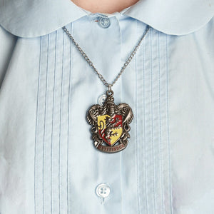 Harry Potter Jewellery Gryffindor House Crest Pendant Necklace with Medallion and Chain on model - Hematite
