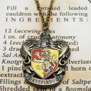Harry Potter Jewellery Gryffindor House Crest Pendant Necklace with Medallion and Chain on wizard's book - Bronze-Gold