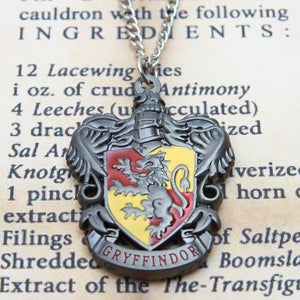 Harry Potter Jewellery Gryffindor House Crest Pendant Necklace with Medallion and Chain on wizard's book - Hematite