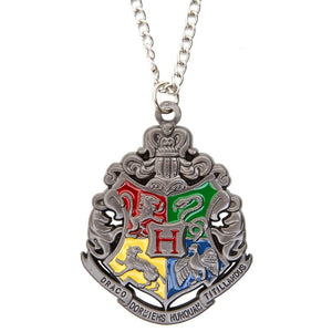 Harry Potter Jewellery Hogwarts Crest Pendant Necklace with Medallion and Chain - hematite