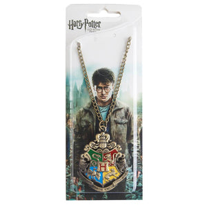 Harry Potter Jewellery Hogwarts Crest Pendant Necklace with Medallion and Chain in box