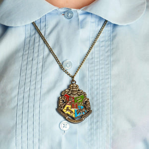 Harry Potter Jewellery Hogwarts Crest Pendant Necklace with Medallion and Chain on model