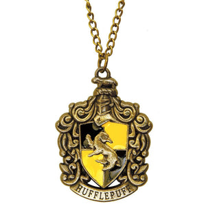 Harry Potter Jewellery Hufflepuff House Crest Pendant Necklace with Medallion and Chain - Bronze-Gold