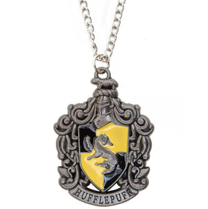 Harry Potter Jewellery Hufflepuff House Crest Pendant Necklace with Medallion and Chain - Hematite