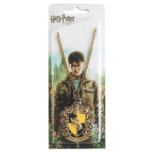 Harry Potter Jewellery Hufflepuff House Crest Pendant Necklace with Medallion and Chain in box - Bronze-Gold