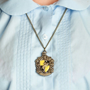 Harry Potter Jewellery Hufflepuff House Crest Pendant Necklace with Medallion and Chain on model - Bronze-Gold
