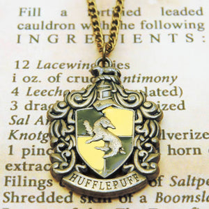 Harry Potter Jewellery Hufflepuff House Crest Pendant Necklace with Medallion and Chain on wizard's book - Bronze-Gold