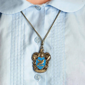 Harry Potter Jewellery Ravenclaw House Crest Pendant Necklace with Medallion and Chain on model - Bronze-Gold