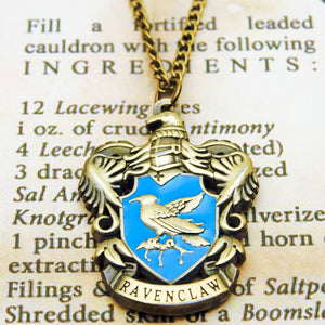 Harry Potter Jewellery Ravenclaw House Crest Pendant Necklace with Medallion and Chain on wizard's book - Bronze-Gold