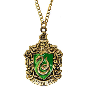 Harry Potter Jewellery Slytherin House Crest Pendant Necklace with Medallion and Chain - Bronze-Gold