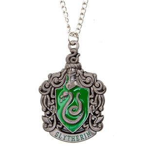 Harry Potter Jewellery Slytherin House Crest Pendant Necklace with Medallion and Chain - Hematite