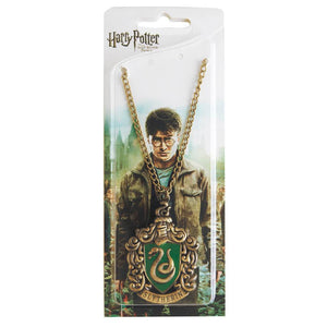 Harry Potter Jewellery Slytherin House Crest Pendant Necklace with Medallion and Chain in box - Bronze-Gold