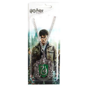 Harry Potter Jewellery Slytherin House Crest Pendant Necklace with Medallion and Chain in box - Hematite