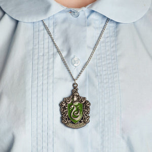 Harry Potter Jewellery Slytherin House Crest Pendant Necklace with Medallion and Chain on model - Hematite
