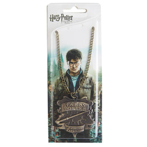 Harry Potter Talisman Jewellery Pendant Necklace with Medallion and Chain in box - Bronze-Gold