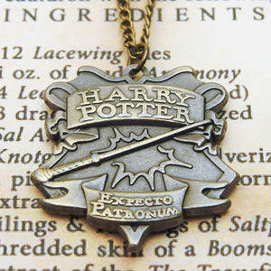 Harry Potter Talisman Jewellery Pendant Necklace with Medallion and Chain on wizard's book - Bronze-Gold