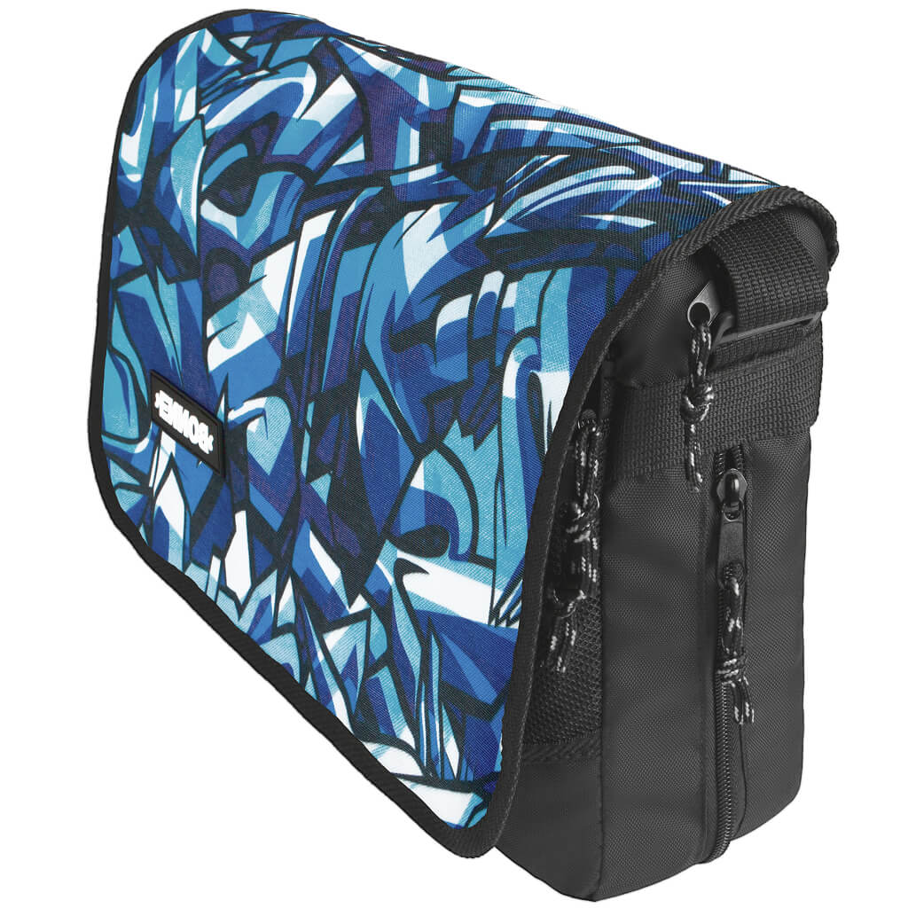 7691689c12 side view of front view of padded laptop bag for use as messenger bag