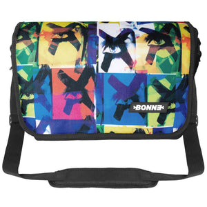 Top view of unique and cool unisex Messenger Bag for girls, boys, men and ladies suitable for use as Courier Bag, Satchel, Shoulder Bag, Laptop Bag and Laptop Messenger Bag for school, university, work and travel