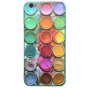 Watercolor paintbox themed protective cell phone case for iphone 6, iphone 6 plus, iphone 7, iphone 8, iphone X, samsung s6 cases, samsung S6 edge,samsung s6 edge plus,samsung s7,samsung s7 edge