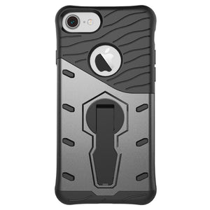 back view of new grey shockproof strong and rugged, slim, compact, light weight hard-soft protective cover and phone case for iPhone 7