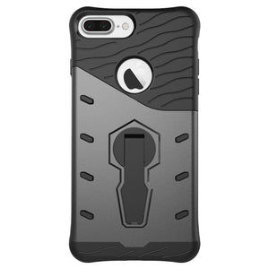 back view of new grey shockproof strong and rugged, slim, compact, light weight hard-soft protective cover and phone case for iPhone 7 Plus