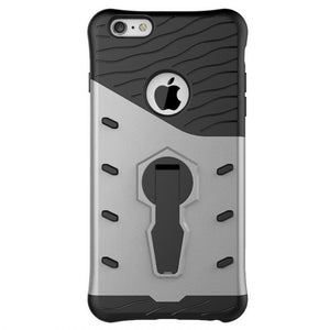 back view of new silver shockproof strong and rugged, slim, compact, lightweight, hard-soft protective cover and phone case for iPhone 6,iPhone 6s,iPhone 6 Plus, iPhone 6s Plus, iPhone 7 and iPhone 7 Plus