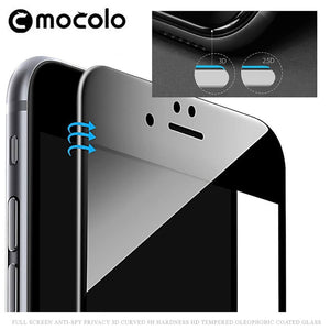 iphone 8Plus waterproof privacy Anti-Spy Black Mocolo 3D curved high definition best quality tempered glass screen protector
