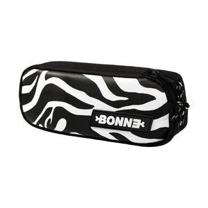 side view of cool unique Zebra unisex pouch for use as a pencil case, makeup case, cosmetic case, cosmetic organiser or toiletry case for girls, boys, men, and ladies for school, work university and travel