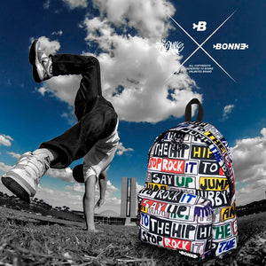 street artist doing hip hop with Bonne Hip Hop classic backpack used as a travelling backpack on the was back to school