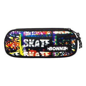 top view of cool unique SK8Tag unisex pouch for use as a pencil case, makeup case, cosmetic case, cosmetic organiser or toiletry case for girls, boys, men, and ladies for school, work university and travel
