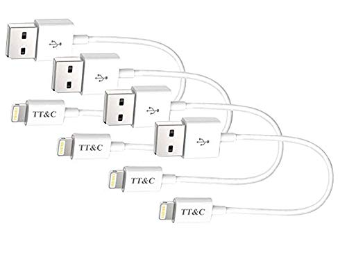 Short Compatible with iPhone Charger Cable [ 8 inch White 4 Pack ] Syncing and Charging Data Cord