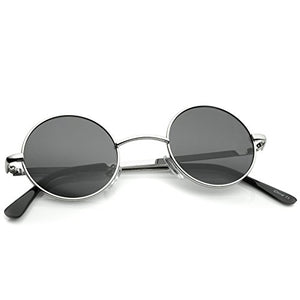 Small Retro Lennon Inspired Style Neutral-Colored Lens Round Metal Sunglasses 41mm (Silver/Smoke)