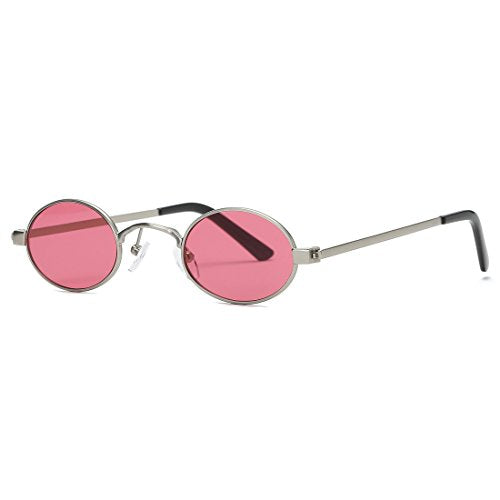Sunglasses Small Round Metal Frame Oval Candy Colors Unisex Sun Glasses  (Silver&Red)