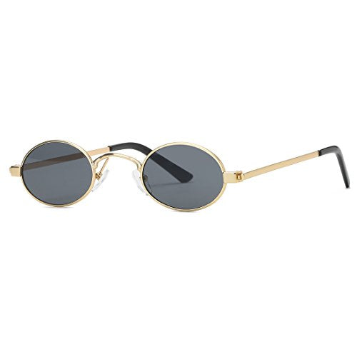 Sunglasses Small Round Metal Frame Oval Candy Colors Unisex Sun Glasses K0577 (Gold&Black)