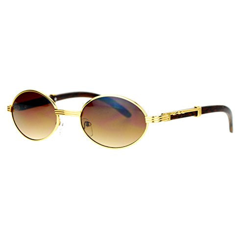 Retro Art Nouveau Vintage Style Small Oval Metal Frame Wooden Sunglasses (Yellow Gold)