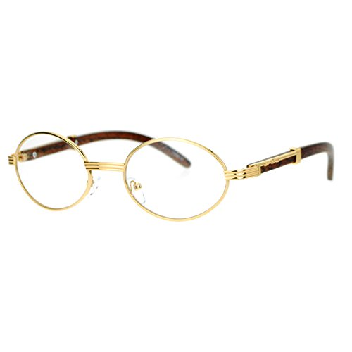 Art Nouveau Vintage Style Oval Metal Frame Eye Wood Glasses Yellow Gold
