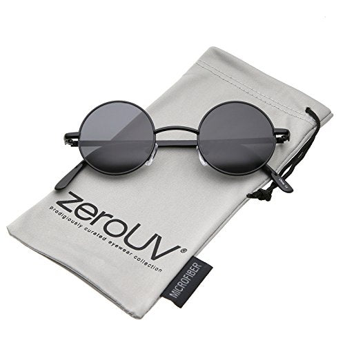 Small Retro Lennon Inspired Style Neutral-Colored Lens Round Metal Sunglasses 41mm (Black/Smoke)