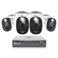 8 Channel 4 Camera Security System, Wired Surveillance 1080p HD DVR 1TB HDD, Audio Capture, Weatherproof